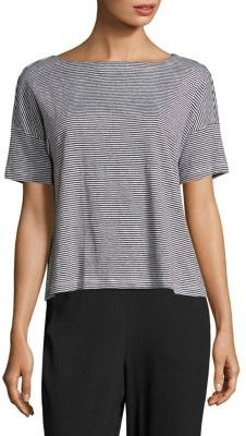 Eileen Fisher Linen Striped Boatneck Box Top $128 thestylecure.com