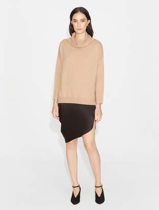 Halston Asymmetric Drape Satin Skirt