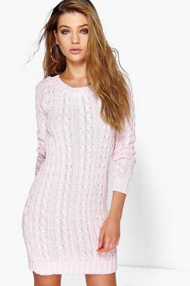 boohoo Eva Cable Knit Mini Dress