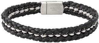 Vera Wang Simply Vera Men's Stainless Steel & Black Leather Interwoven Bracelet