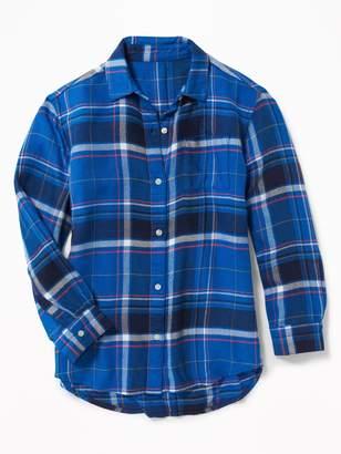 Old Navy Plaid Twill Boyfriend Tunic Shirt for Girls