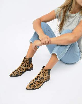 Asos DESIGN Atom leather chelsea boots in leopard print