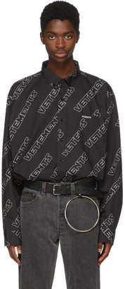 Vetements Black Oversized Logo Shirt