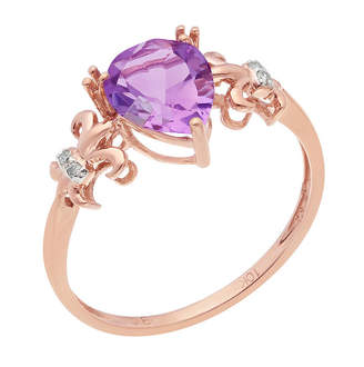 FINE JEWELRY Genuine Amethyst and Diamond-Accent 10K Rose Gold Filigree Ring
