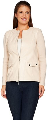 Linea By Louis Dell'olio by Louis Dell'Olio Lamb Leather Jacket with Knit Sleeves