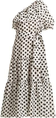 Lisa Marie Fernandez Arden one-shoulder polka-dot linen dress