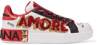 Dolce & Gabbana Embellished Printed Leather Sneakers - White