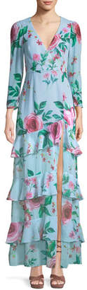 Fame & Partners The Camari Long Floral Georgette Dress