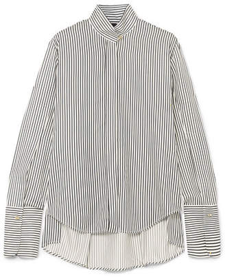 Evike Striped Silk Crepe De Chine Blouse - White