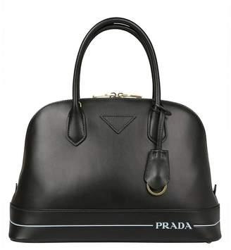 Prada Handbag Genuine Leather Bag With Maxi Logo And Double Handles
