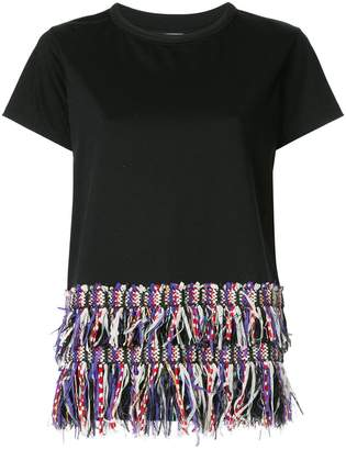 Coohem tweed-fringed T-shirt
