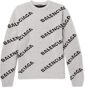 Balenciaga Logo-Intarsia Knitted Sweater - Gray