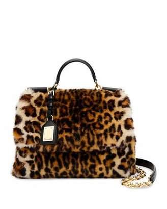 Dolce & Gabbana Sicily Medium Leo Pellicciotto Faux-Fur Satchel Bag