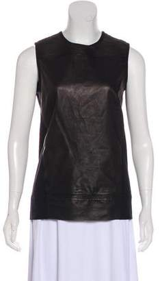 Helmut Lang Sleeveless Leather-Paneled Top w/ Tags