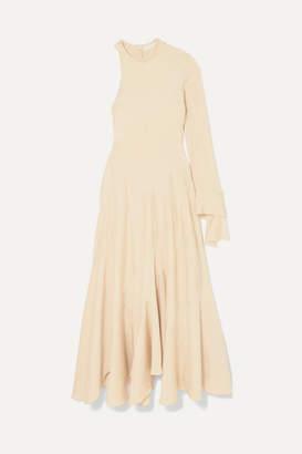 Chloé Frayed One-sleeve Satin Maxi Dress - Beige
