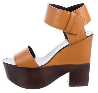 CelineCéline Leather Platform Sandals