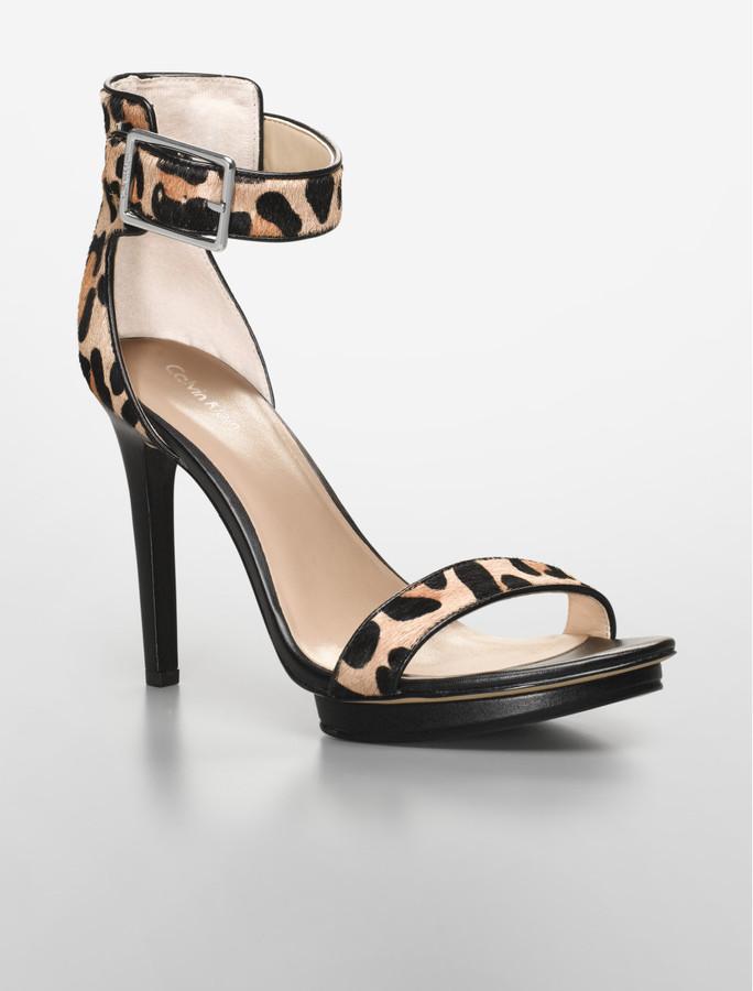 Calvin Klein Vivian Leopard Print Strappy Platform Sandal