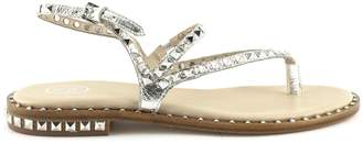 Ash Peps Sandals In Silver-tone Leather