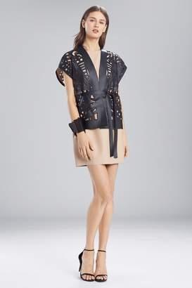 Josie Natori Faux Leather Short Cut-Out Vest