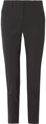 Theory - Testra Stretch-wool Crepe Slim-leg Pants - Black $295 thestylecure.com