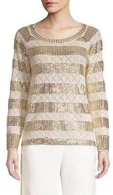 Kobi Halperin Melita Embellished Metallic Stripe Eyelet Wool Sweater