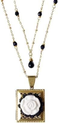 POPORCELAIN - Vintage Style Porcelain Moonlight Rose Locket Necklace