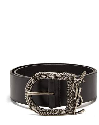 Saint Laurent Western logo-embellished leather belt