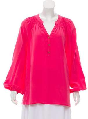 Lilly Pulitzer Silk Ruched Blouse