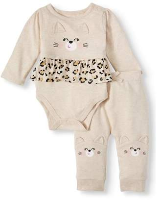 Garanimals Baby Girls Long Sleeve Peplum Bodysuit & French Terry Pants, 2pc Outfit Set