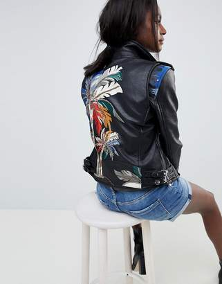 Blank NYC Festival Biker Jacket With Embroidered Detail