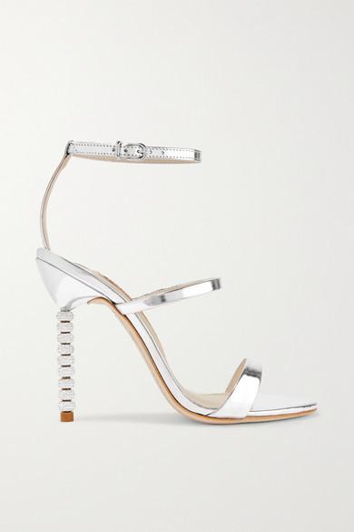 Sophia Webster - Rosalind Crystal-embellished Metallic Leather Sandals - Silver