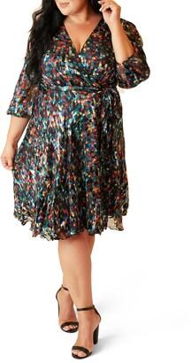 Maree Pour Toi Graphic Print Burnout Wrap Dress