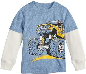 Toddler Boy Jumping Beans Monster Truck Layered Sleeve Tee
