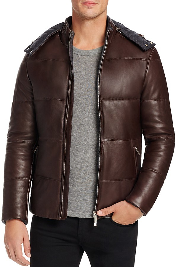 Hugo BossBOSS Nortik Quilted Leather Hooded Jacket