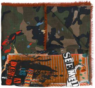 Valentino thin camouflage print scarf