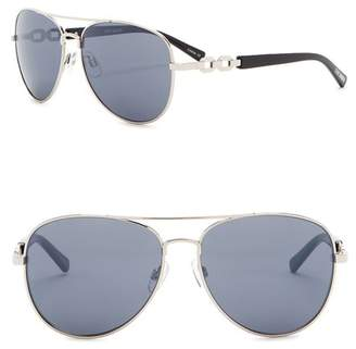 Steve Madden 57mm Aviator with Chain Temple Sunglasses