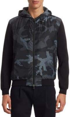 Saks Fifth Avenue MODERN Mix Media Camouflage Bomber Jacket