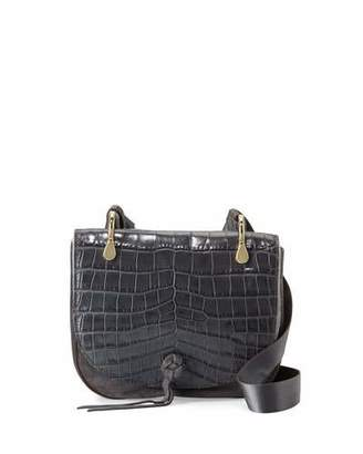Elizabeth and James Zoe Crocodile-Embossed Saddle Bag, Putty $495 thestylecure.com