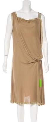 Alberta Ferretti Sleeveless Metallic-Trimmed Dress