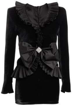 Alice + Olivia Alessandra Rich Velvet Taffeta Bow Mini Dress