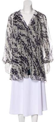 Elizabeth and James Silk Metallic-Accented Blouse w/ Tags