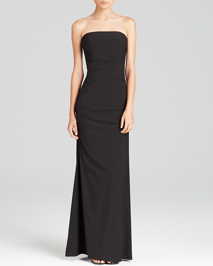 Nicole Miller Ruched Strapless Gown Shopstyle Evening