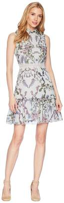 Donna Morgan Sleeveless Printed Chiffon Fit and Flare with Waist Faggoting Detail Women's Dress