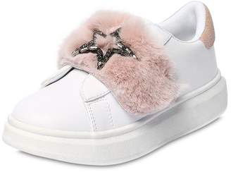 Colors of California Faux Leather Sneaker W/ Faux Fur Strap