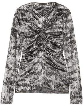 Isabel Marant Bluzka Ruched Printed Silk-blend Lame Top