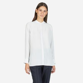 The Relaxed Silk Collarless Shirt $88 thestylecure.com