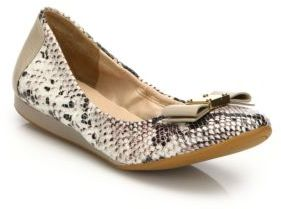 Cole Haan Tali Snake-Embossed Leather Ballet Flats $180 thestylecure.com