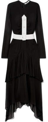 Givenchy Asymmetric Belted Plissé Silk-chiffon Midi Dress - Black