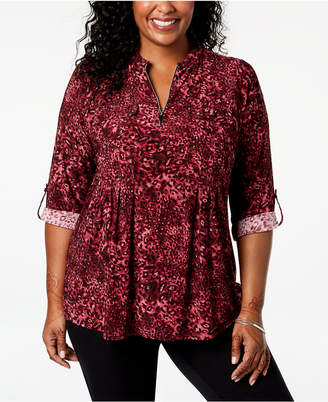 NY Collection Plus Size Animal-Print Pleated Top