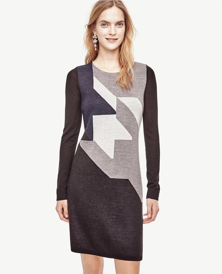 Ann TaylorPetite Colorblock Houndstooth Sweater Dress
